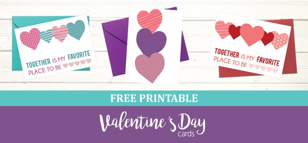 Print 3 different styles of Valentine's Day cards
